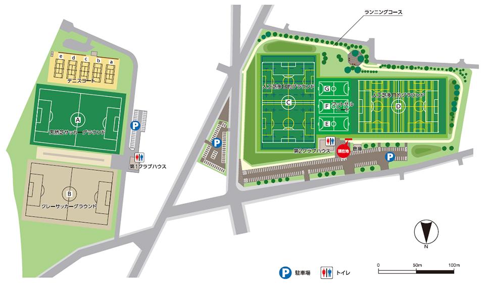 函館フットボールパーク周辺図